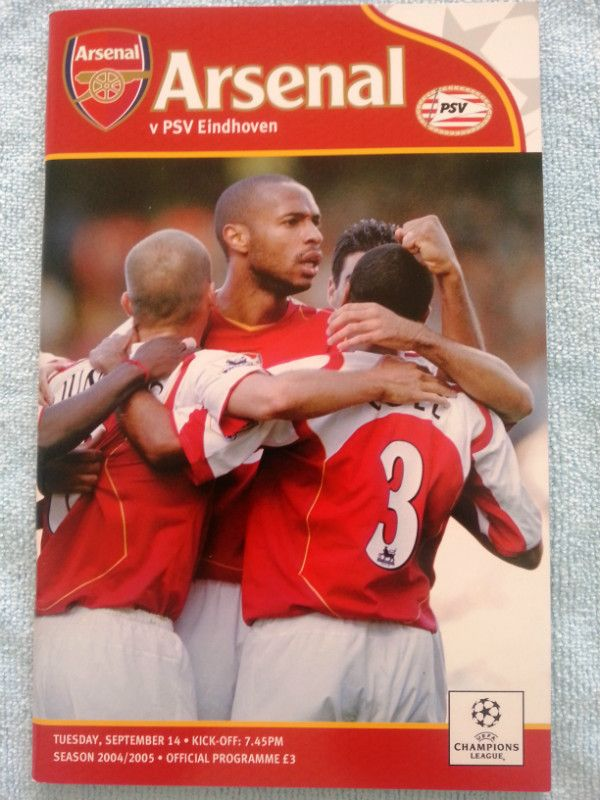 Arsenal v PSV Eindhoven Football Programme UEFA Champions League 14/09/2004 Listing in the European Club Fixtures,Football (Soccer),Sports Programmes,Sport Memorabilia & Cards Category on eBid United Kingdom