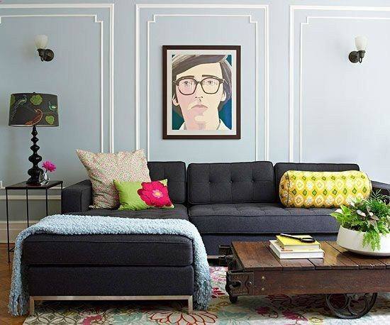 charcoal couch, bright accents