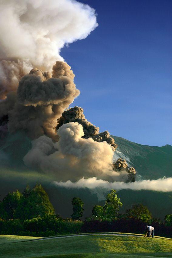 Eruption of Mount Merapi in Yogyakarta, Indonesia.