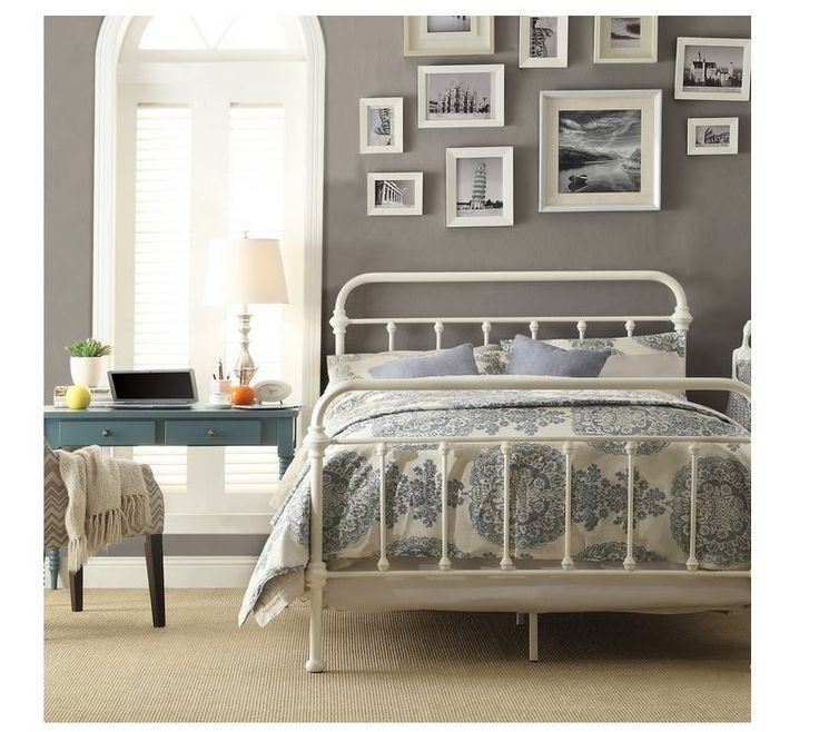 victorian bed frame queen antique distress white iron metal headboard footboard colonial