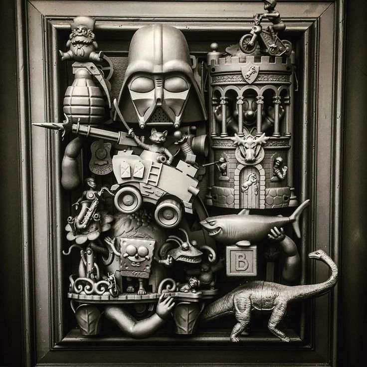 I always have to stop and appreciate artist David Burton's pieces. He reassembles found and broken objects mostly using modern day pop iconic items and toys. In person the pieces dark nostalgic and a bit surreal. #davidburton #instaart #toys #culture #art