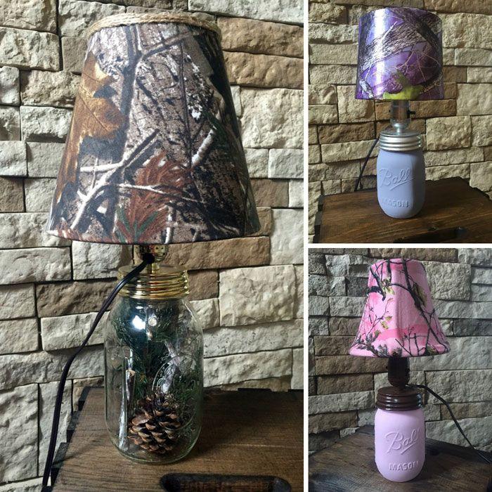 Mason Jar Lamps With Camo Lampshades
