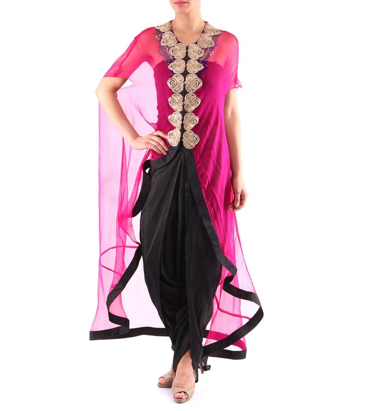 Black Silk Dhoti With Hot Pink Bandhani Cape