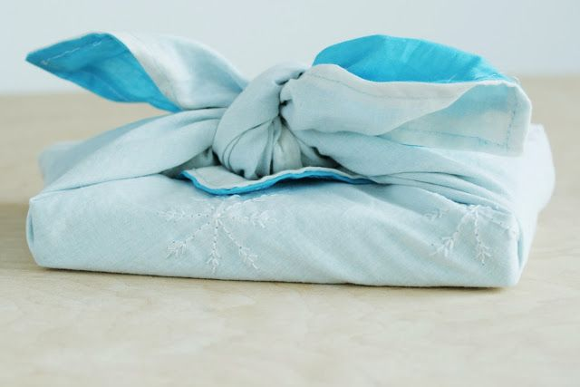 embroidered Furoshiki, eco-friendly cloth gift wrapping tutorial