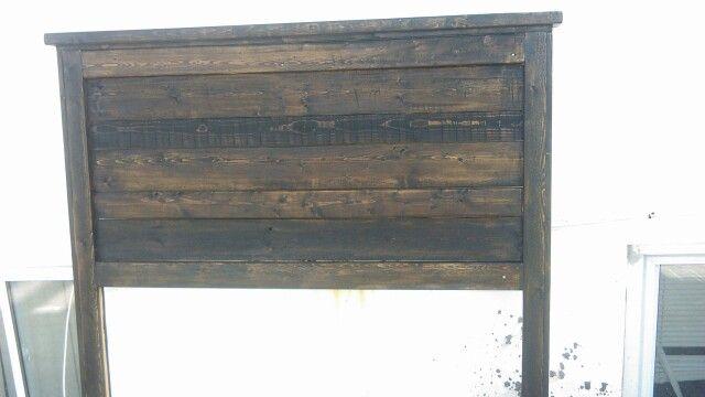 Headboard stained with dark walnut