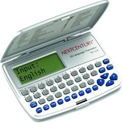 Franklin- Next Century Tg112 20 Language European Translator. World Time With Alarm And Calculator, Metric/currency Converters. Phrases Can Be Searched By Keyword Or By Category. 5,000 Words Per Language; Over 2 Million Translations. 150 Sentences Per Language. 20 Languages With Translations To And From.