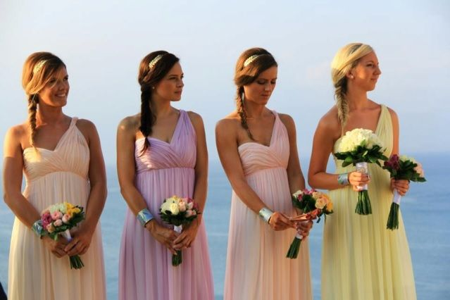Different colour bridesmaid dresses, same cut for all