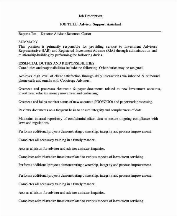Resident Assistant Job Description Resume Lovely Sample Financial Advisor Job Description 7 E In 2020 Assistant Jobs Job Description Teaching Assistant Job Description