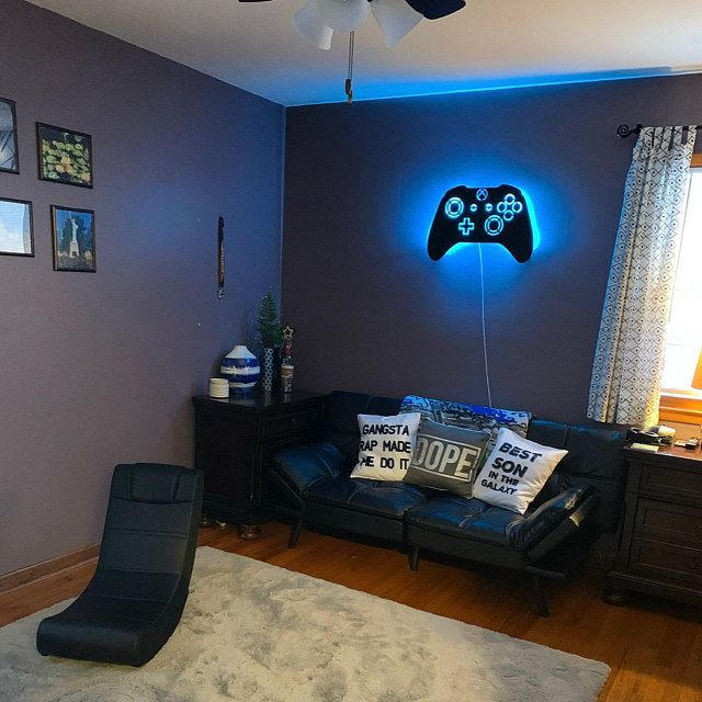 Led Lighted Playstation Controller Wall Art Video Game Art Etsy Boys Bedroom Makeover Game Room Decor Boys Game Room