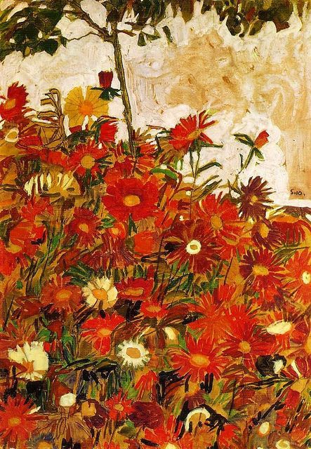 Field of Flowers   Egon Schiele   1910   Chalk on Paper      About the Art    T his early drawing by Schiele is a mixed media study i...