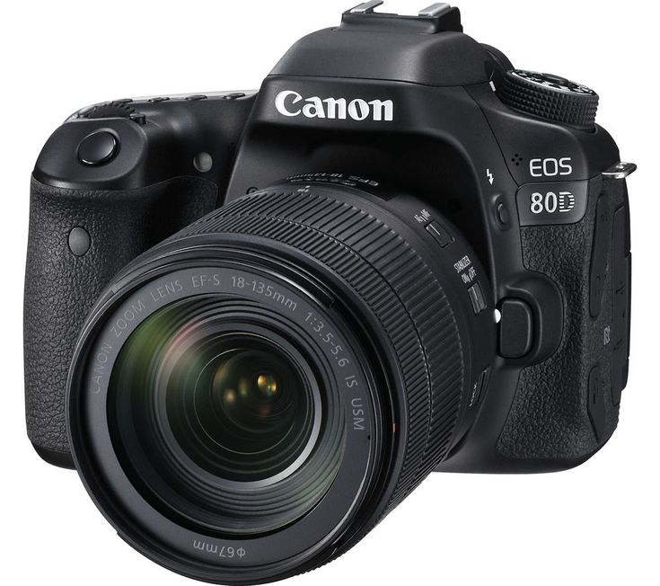 CANON  EOS 80D DSLR Camera with 18-135 mm f/3.5-5.6 IS USM Zoom Lens - Black, Black Price: £ 1299.00 Top features: - High-resolution photos in different conditions - Sharp focus for capturing the action - Easy framing with the Intelligent Viewfinder - Full HD video and wireless sharing for instant uploads High-resolution photos You'll be able to capture beautiful pictures with a 24.2...