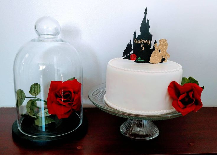 Beauty and the Beast Cake Topper, Beauty and the Beast, beauty beast and Rose. Belle's Castle silouette by BirthdayBoutiqueMI on Etsy https://www.etsy.com/listing/544224407/beauty-and-the-beast-cake-topper-beauty