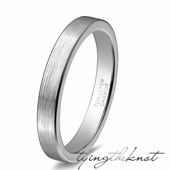 Womens Tungsten Carbide Brushed Thin Silver Pipe Cut Comfort Fit Engagement Promise Wedding Band - 3mm Ring Sizes 4 - 12