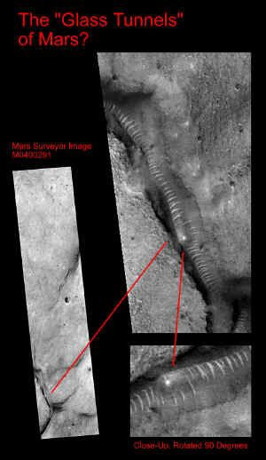 """Mars Anomalies    A gigantic segmented worm would adequately explain this photo.  (""""Spice"""" emitted from its mouth is optional.)"""