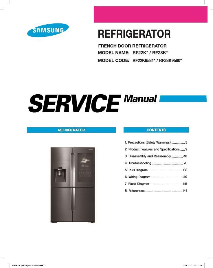 Samsung Rf22k9581sr Rf22k9581sg Rf28k9580sr Rf28k9580sg Service Manual Samsung Refrigerator Repair Manual Refrigerator Repair