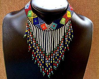 Encaje de cuentas Zulu gargantilla arco iris por ZuluBeads en Etsy