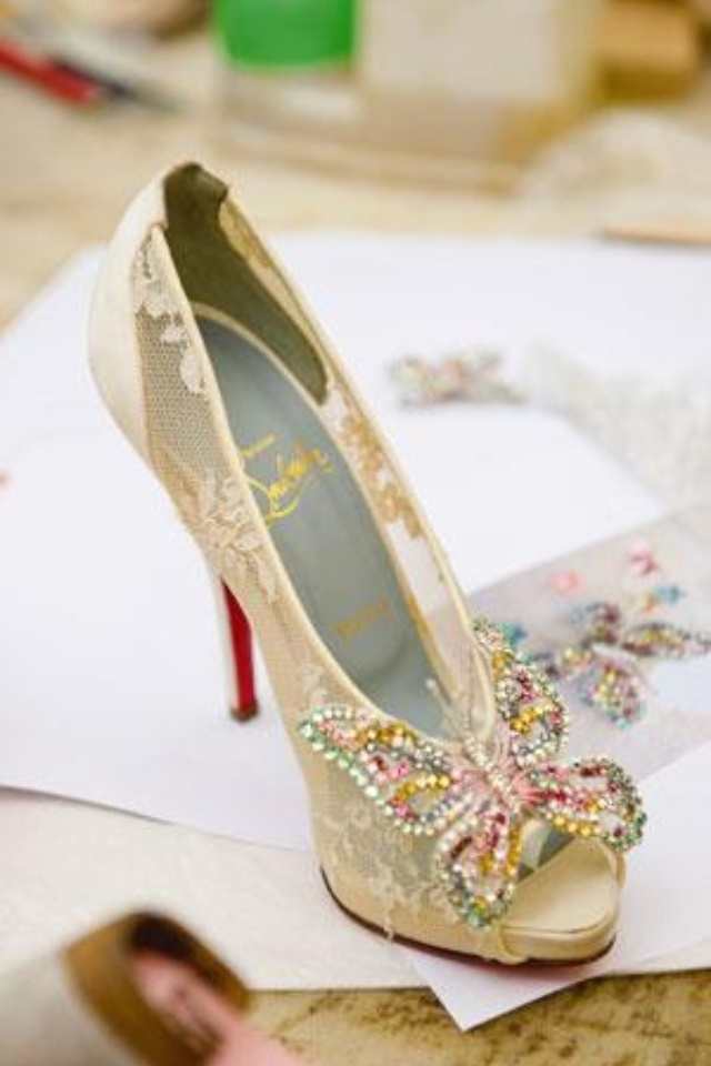 christian louboutin butterfly wedding shoes