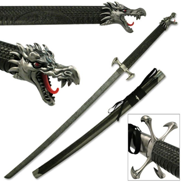 "SW-338BK DRAGON SWORD 41"" OVERALL, DRAGON CLAW KATANA"