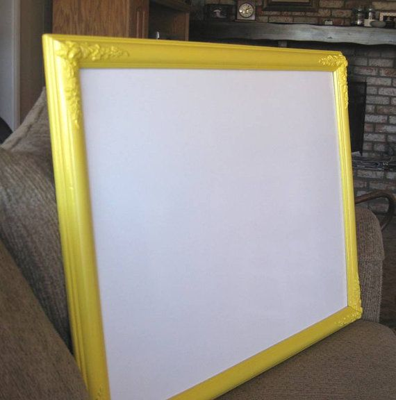 yellow framed dry erase board large whiteboard hand by bythebirds 7500