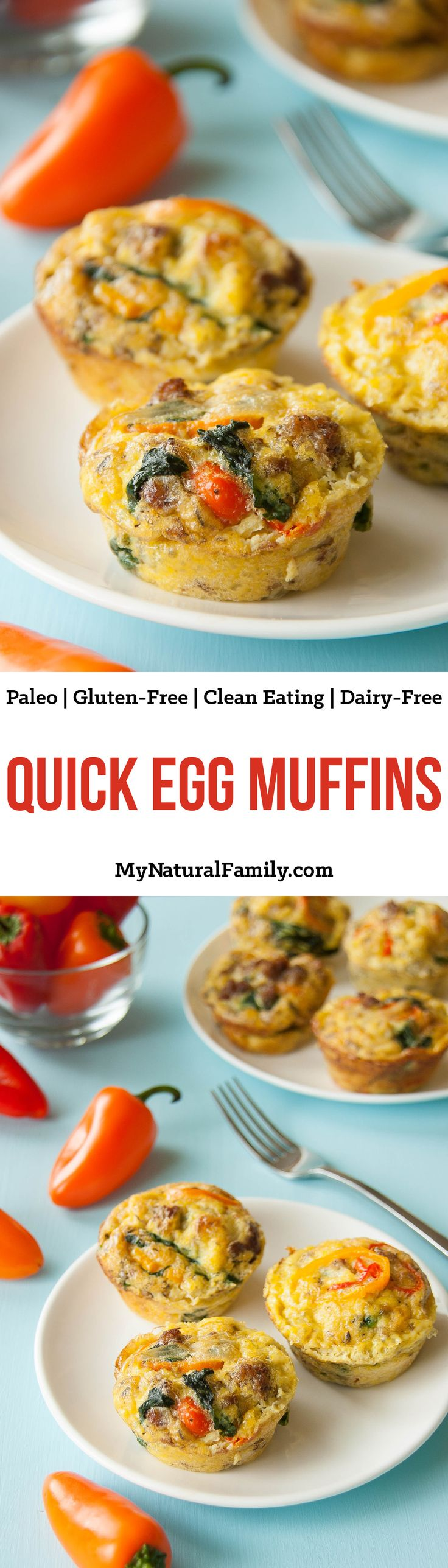 Quick Egg Muffin Recipe {Paleo, Gluten Free, Clean Eating, Dairy Free}. A quick healthy breakfast or mid-morning snack recipe that is full of protein! Pin this clean eating egg recipe to make later this week.