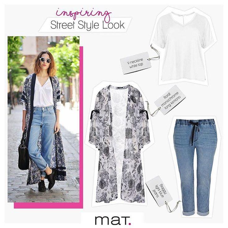 """Τα """"it"""" girls του street style αποδεικνύουν ότι ένα στυλάτο κιμονό είναι ό,τι χρειάζεσαι για να απογειώσεις τον κλασικό συνδυασμό τζιν παντελονιού & λευκού T-shirt! Τα φαρδιά μανίκια και το floral μοτίβο θα δώσουν ενημερωμένο μποέμ αέρα στο casual στυλ σου! Aγόρασε το κιμονό ➲ [code: 671.7306] Αγόρασε το baggy τζιν παντελόνι ➲ [code: 673.2043] Αγόρασε το λευκό t-shirt ➲ [code: 671.1289] #matfashion #springsummer2017 #matjeans #plussizefashion #psblogger #style #inspiration"""
