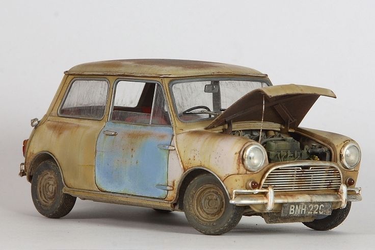 Tamiya 1:24 scale model Mini Cooper by John Tolcher. #automotive #rust