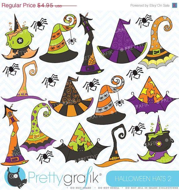 80% OFF SALE Halloween hats clipart, commercial use, vector graphics, digital clip art, digital images - CL357