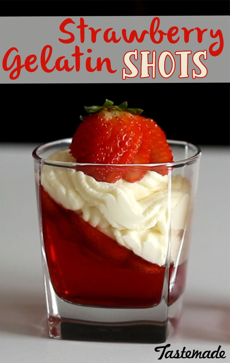 How cute are these Strawberry Gelatin glasses?! Get ready to be drunk off sugar because you won't be able to stop pounding these delicious desserts.