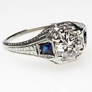 ANTIQUE ART DECO OLD EUROPEAN CUT DIAMOND & SAPPHIRE ENGAGEMENT RING SOLID 18K WHITE GOLD