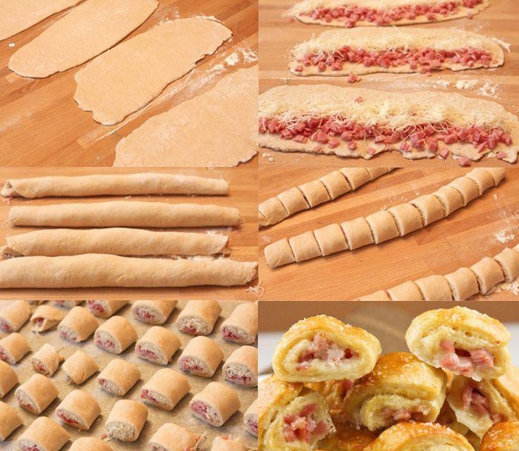 Saladitos de jamón cocido y queso -Extiende la masa de hojaldre hasta que quede…