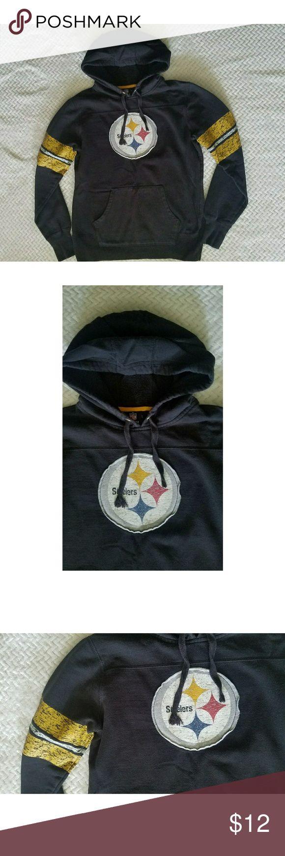 Pittsburgh Steelers Hoodie Official NFL Team Apparel black Steelers hoodie! Distressed look. Very comfortable and good quality. Size medium. NFL Team Apparel Tops Sweatshirts & Hoodies