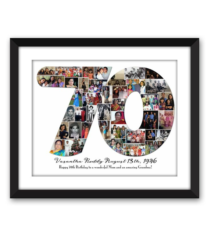 Seventy 70 Sixty 60 Forty 40 fortieth Thirty 30 twenty-One Anniversary Birthday Digital Printable Custom 1 or 2 digit Number Photo Collage