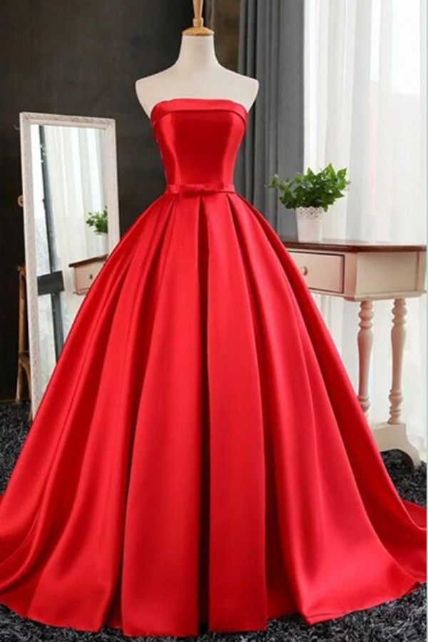 Elegant Strapless Sweep Train Ball Gown Red Pleats Prom Dress With Bow TP0031