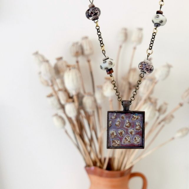 Brown Pendant Necklace with Abstract Art and Lampwork Glass Beads £22.50