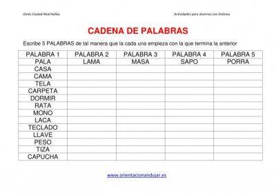 ACTIVIDAES DISLEXIA CADENA DE PALABRAS imagen 1