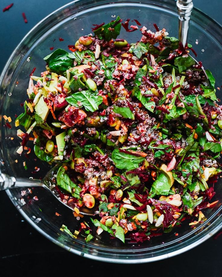 1. Colorful Beet Salad With Carrot, Quinoa, and Spinach  #winter #salad #bowls http://greatist.com/eat/winter-salad-recipes