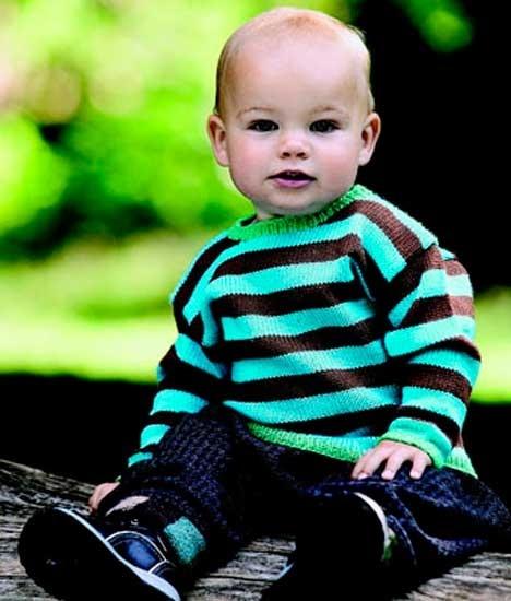 Bredstribet bluse http://www.hendesverden.dk/handarbejde/strik/Baby-strik-bredstribet-bluse/