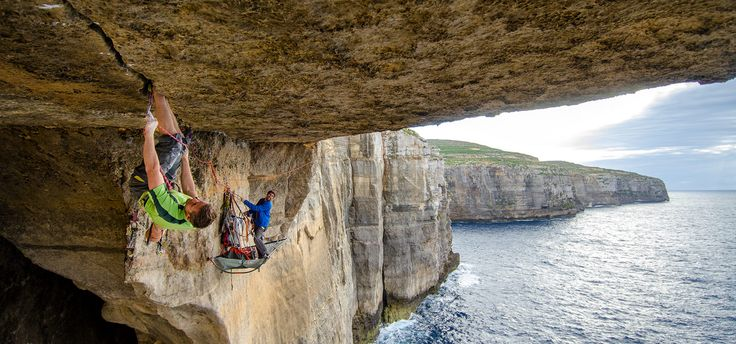 Tommy Caldwell and Sonnie Trotter work on a 5.13+ project, 300 feet above the Mediterranean Sea. Gozo, Malta. REBECCA CALDWELL