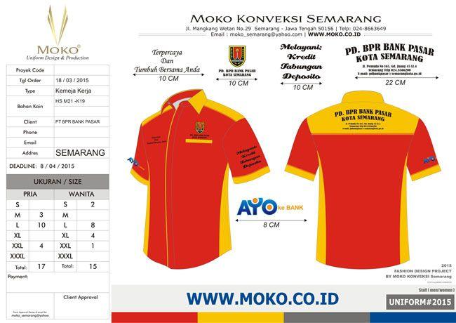 Pakaian Seragam BPR Bank Pasar Kota Semarang - Jawa Tengah - Indonesia | Pemilihan kombinasi warna pada Pakaian Seragam BPR Bank Pasar diambil dari logonya. Menggunakan kombinasi warna yang mirip dengan logo akan menguntungkan anda | model seragam kerja kombinasi warna merah orange