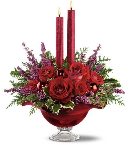 Christmas centerpiece - flowers with 2 candles