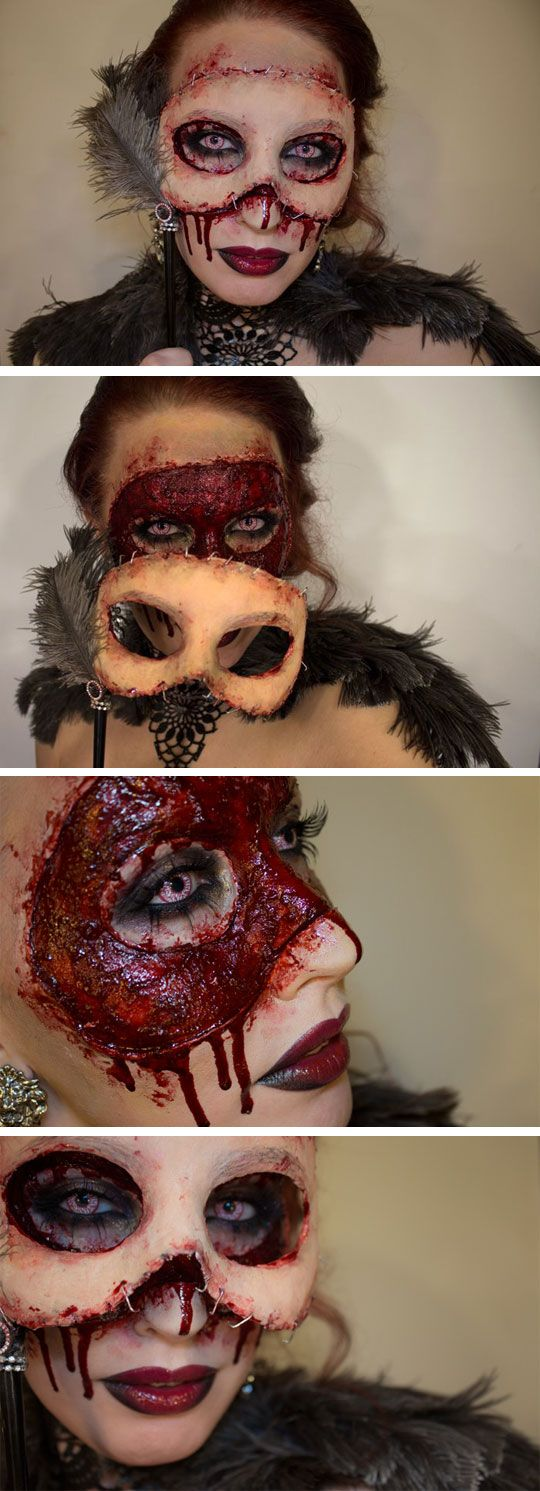 Completely obsessed with this idea for halloween. Its a nice mix of beauty makeup with extreme gory sfx.