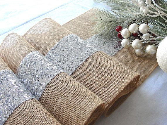 Luxury Sequin Silver Table Runner  Wedding Table Decor