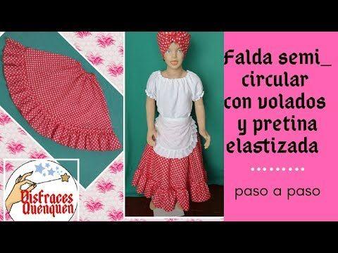 4af2325db DIY. Disfraz de NEGRITA CANDOMBERA.Como hacer FALDA SEMICIRCULAR con ...