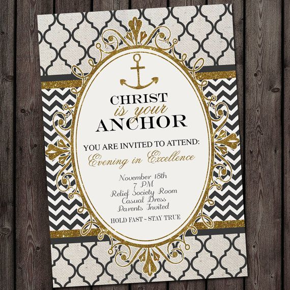 anchor invitation, Young Women new beginnings or yw in excellence invitation, embark anchor invitation, yw invitations, LDS Young women