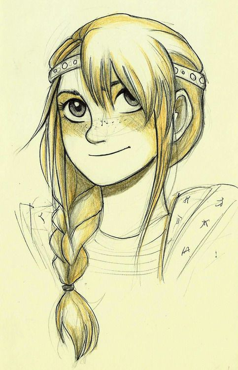 Drawing of astrid from how to train you dragon