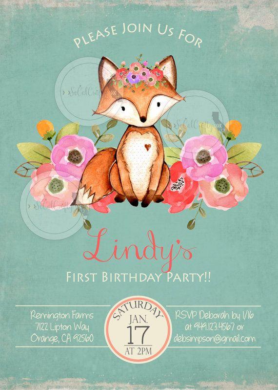 Woodland Fox Birthday Party Invitation Forest by socalcrafty