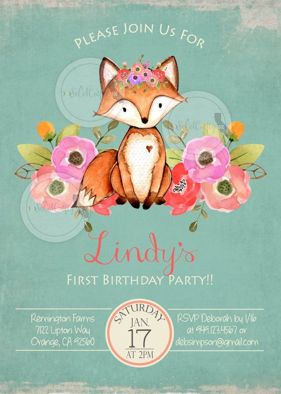 Woodland Fox Birthday Party Invitation Forest Animals