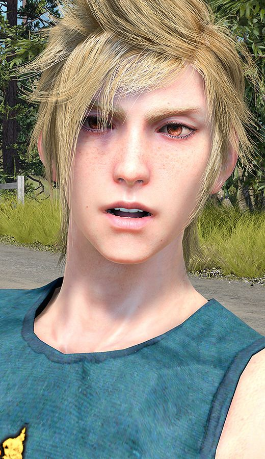 """my-star-shine: """"Um…I kind of love Prompto with brown eyes"""