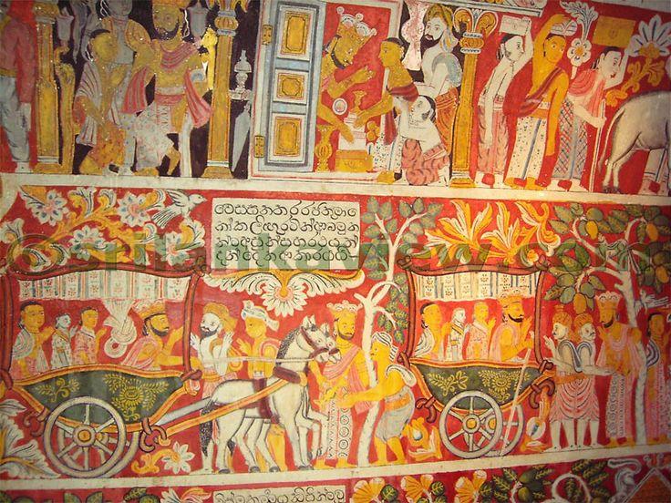 Ancient Kandyan Wall painting depicting a Buddhist Jathaka story at a temple in Kandy, Sri Lanka