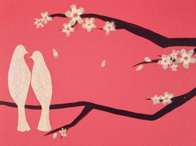 Almond tree branch w/ glittery love birds wall painting